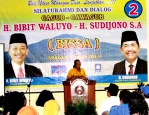 Wakil Ketua DPRD Sragen, Bambang W Purwanto,ketika memberi sambutan dalam Silaturahmi dan Dialog Cagub-Cawagub, Bibit Waluyo-Sudijono yang berlangsung di Kantor DPD Golkar Sragen,