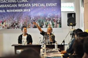 Dirjen Pengembangan Wisata Minat Khusus,  Akhyaruddin saat sambutan Coaching Clinic Fasilitasi Pengembangan Wisata Special Event di laksanakan Hotel Ibis Solo, Sabtu-Minggu (9-10/11/2013)