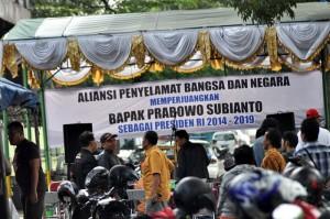 Aliansi Penyelamat Bangsa dan Negara mendeklarasikan dukungannya kepada calon presiden Prabowo Subianto, Jumat (9/5).