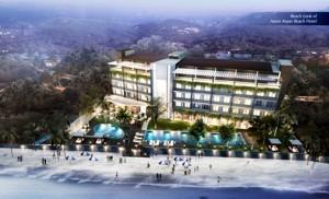 Gambar eksterior dari Aston Anyer Beach Resort tampak dari pantai - Jawa Barat.
