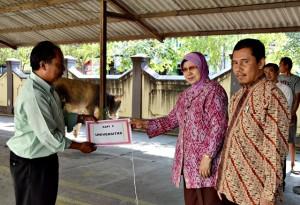 Rektor Unisri Prof. Dr. Ir. Kapti Rahayu Kuswanto menyerahkan secara simbolis lembu qurban didampingi wakil rektor bidang II Dr. Amin Wahyudi, MM