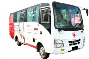 Mobil Unit Donor Darah dalam program Blood And Water For Life yang akan digunakan PMI untuk membantu kegiatan kemanusiaan di berbagai lokasi.