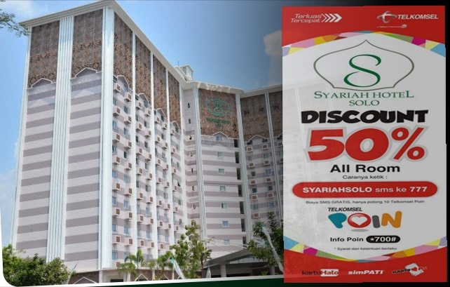 Pengguna Telkomsel, Diskon 50% Kamar  Di Syariah Hotel Solo