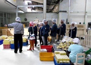 Salah satu kelompok mengunjungi ruang pengemasan produk Intrafood