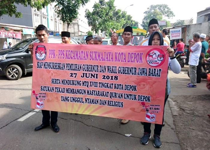 PPK Sukmajaya Sosialisasikan Pilgub Jabar Dengan Pawai